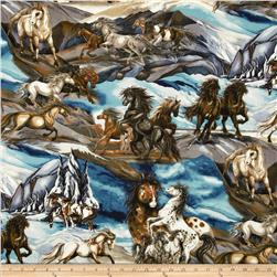 North American Wildlife 3 Horse Collage Nature Fabric