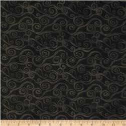 "108"" Wide Quilt Back Swirly Scroll Black"