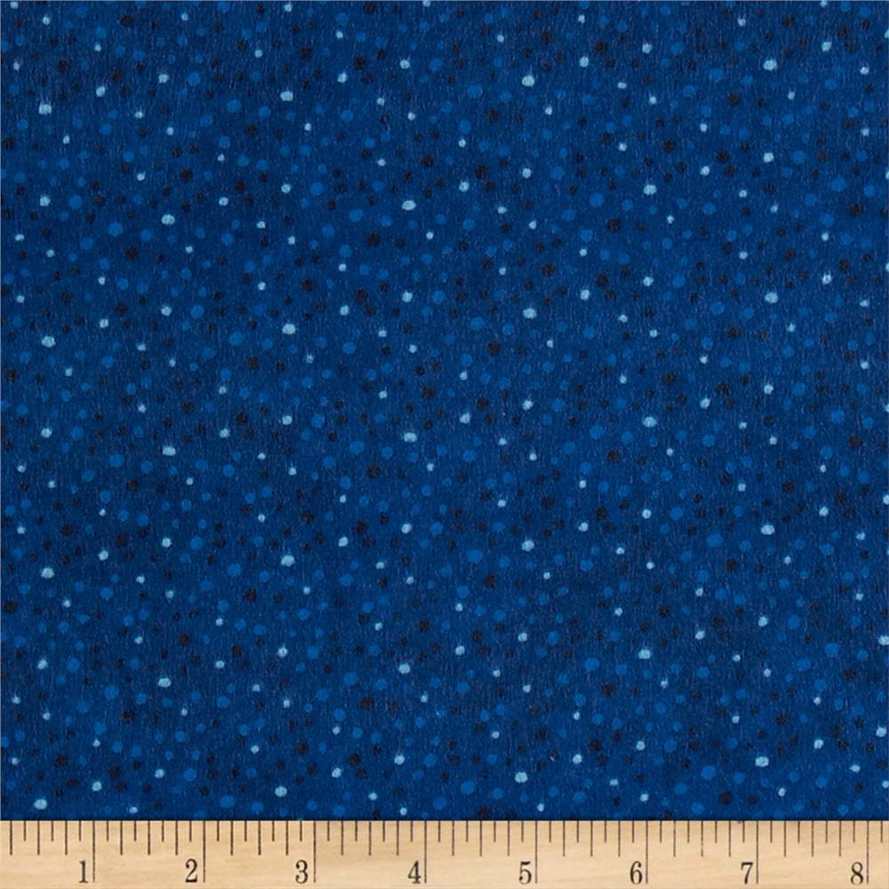 Petite Dots Flannel Dark Blue