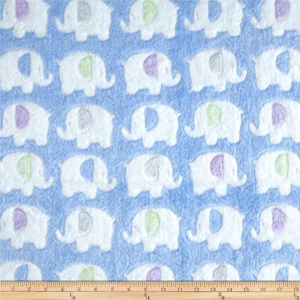 Double-Sided Minky Fleece Elephant Light Blue