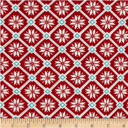 Moda Be Jolly Snowflake Lattice Berry Red
