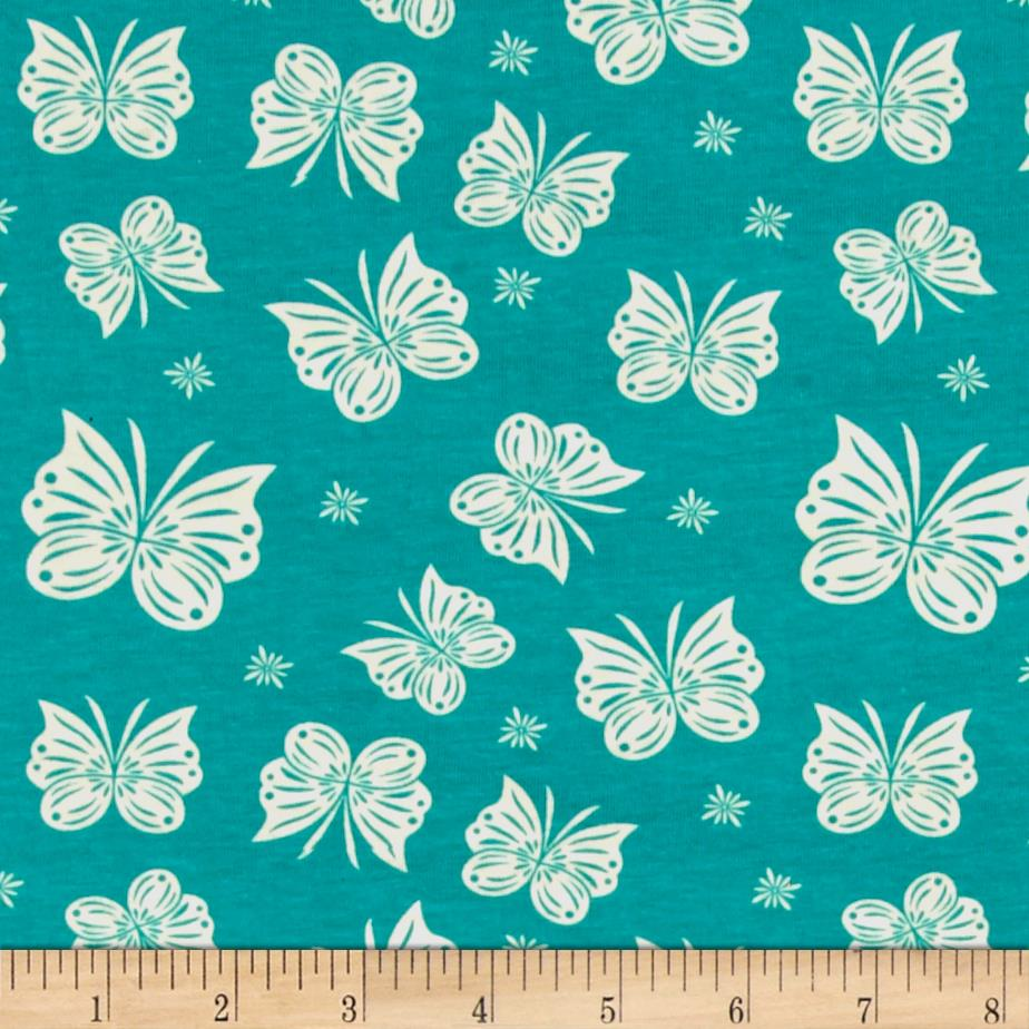 Riley Blake Cotton Jersey Knit Acorn Flutter Teal Fabric By The Yard