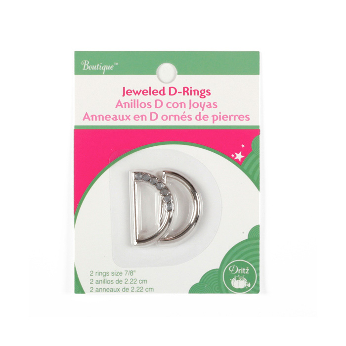 Jeweled D-Rings 7/8'' Clear