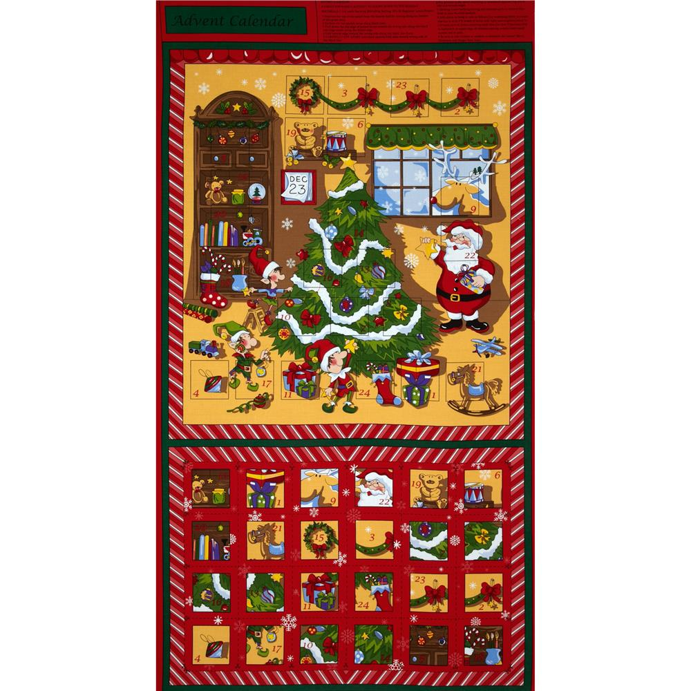 Santa's Workshop Advent Calendar Panel Red