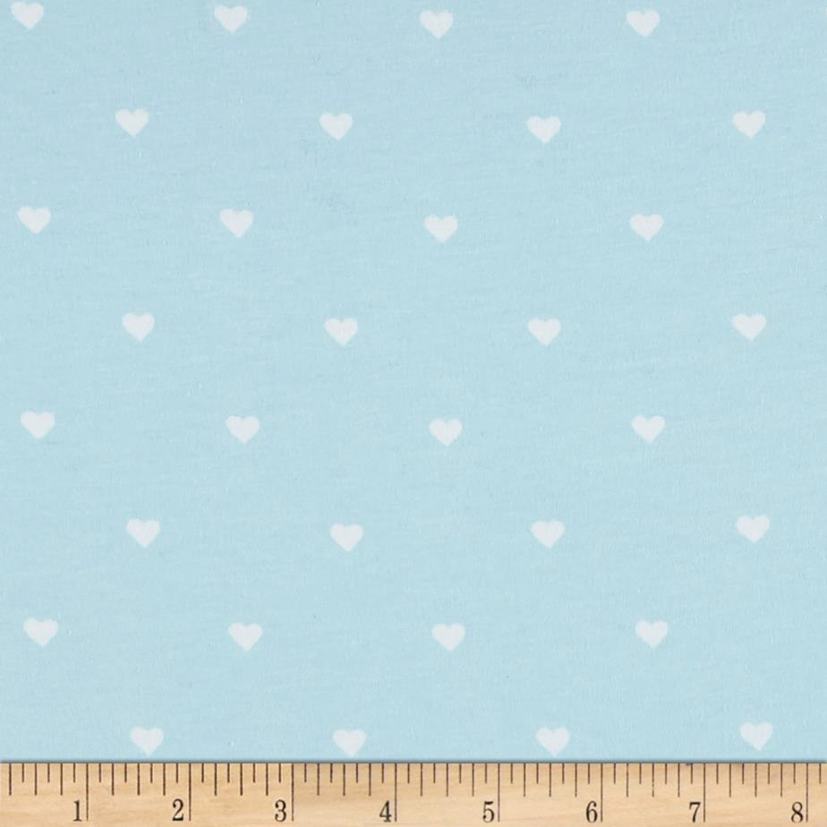 Riley Blake When Skies Are Grey Jersey Knit Heart Blue