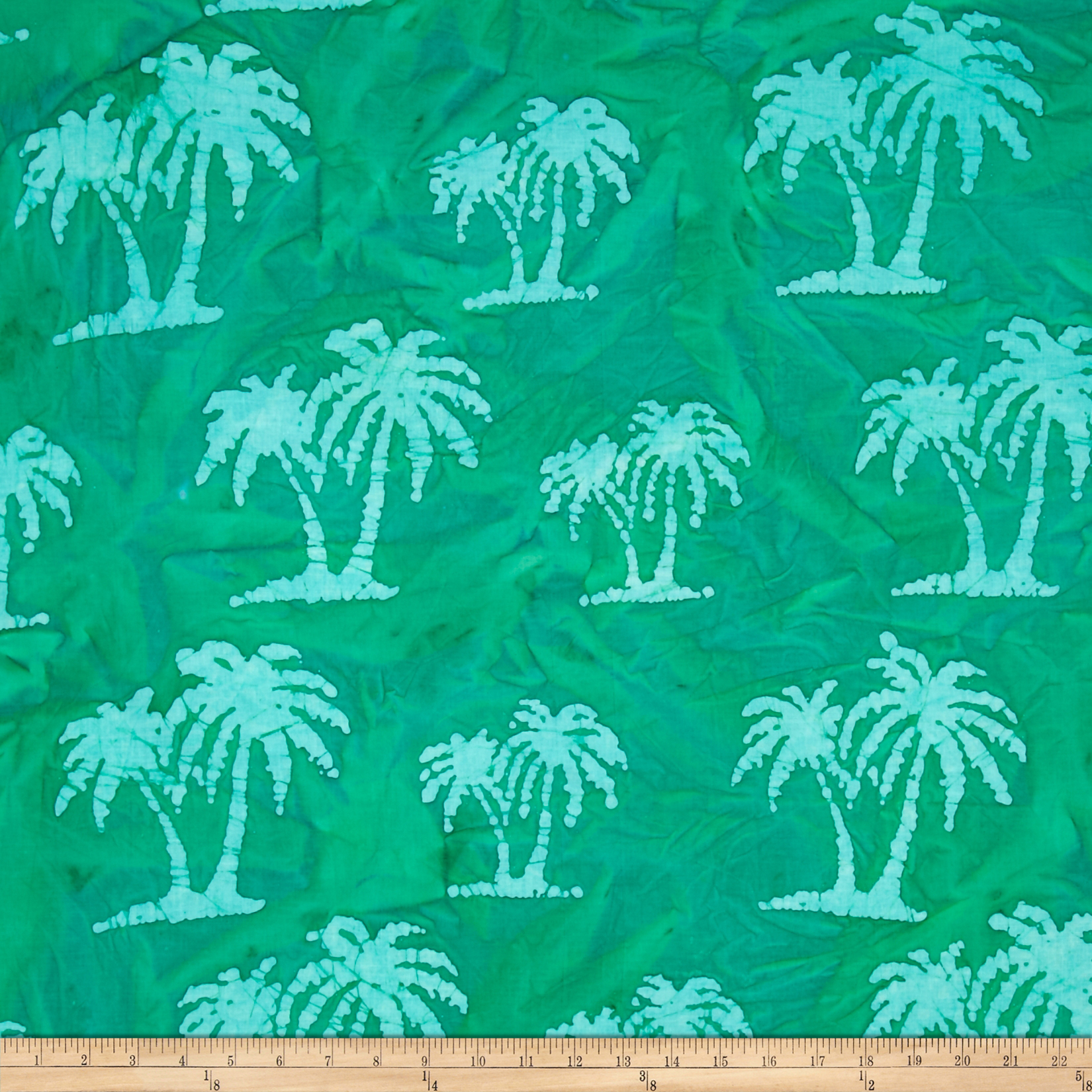 Indian Batik Palm Trees Green Fabric