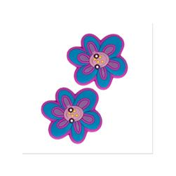 Novelty Button Rubber 1'' Blue Flower Pink/Multi