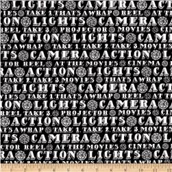 Lights, Camera, Action Words Black