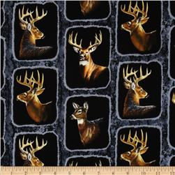 Wild Wings Wintergreen Deer Frames Blue Fabric