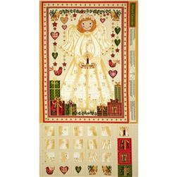 Christmas Metallic Angel Advent Calendar Panel Natural
