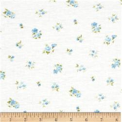 Pointelle Knit Small Floral White/Blue