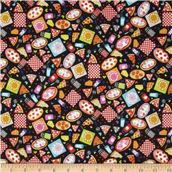 Mini Morsels Tossed Pizza Black Pepper Fabric