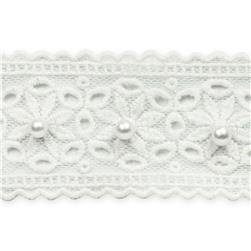 1 5/8: Daisy with Pearl Lace Trim White