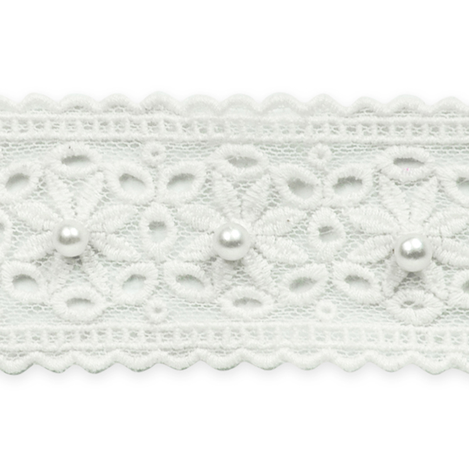 1 5/8: Daisy with Pearl Lace Trim White by Expo in USA