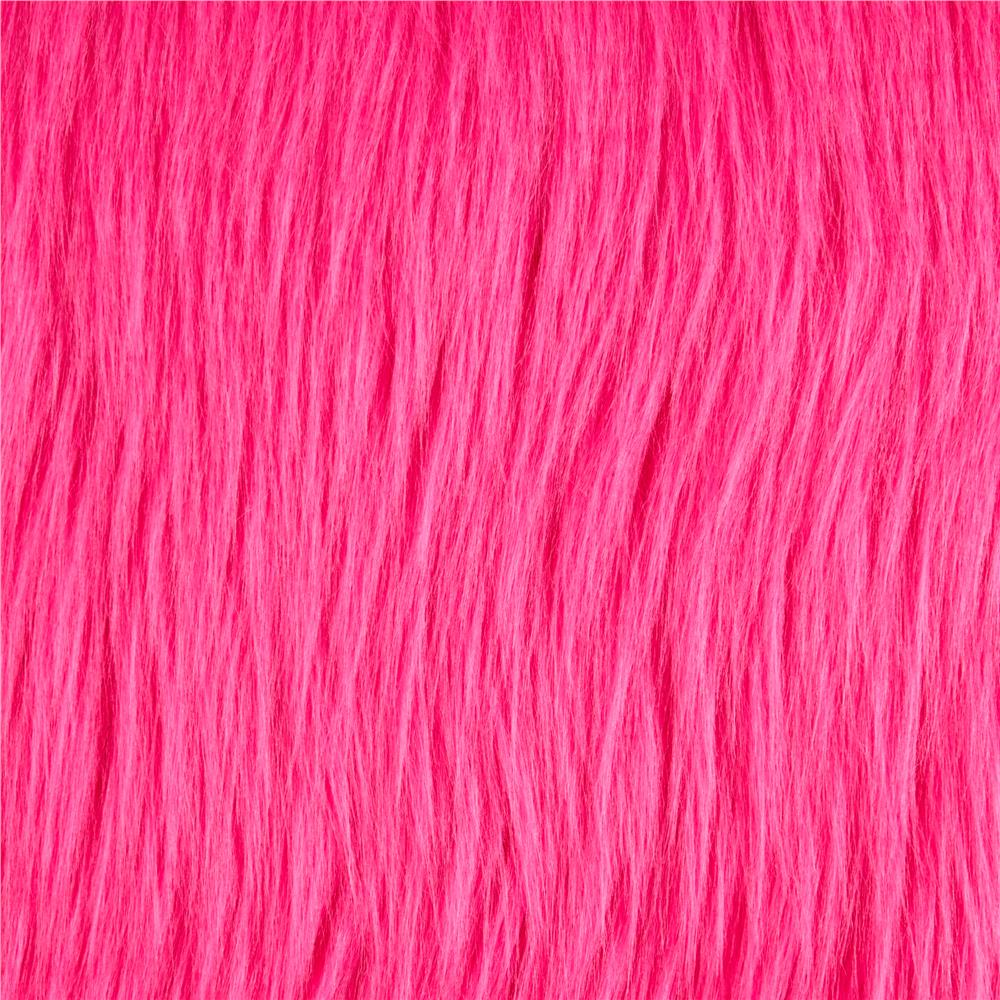 Faux Fur Luxury Shag Neon Pink