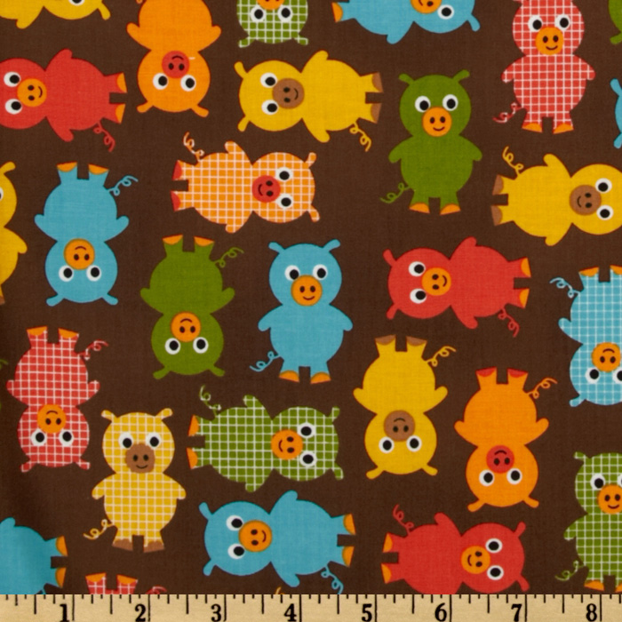 Urban Zoologie Baby Pigs Bermuda Brown Fabric