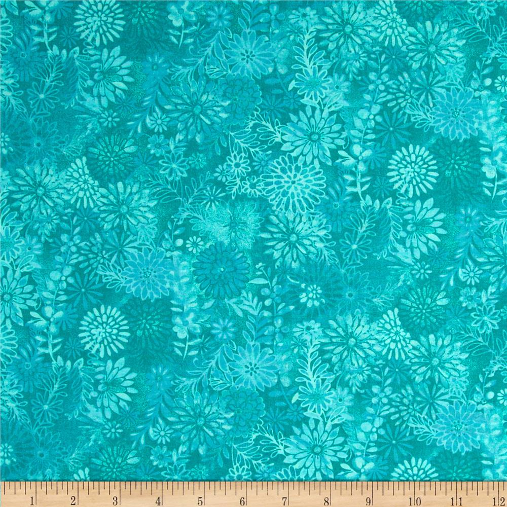 Packed Floral Batik Turquoise
