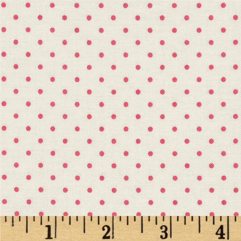 Riley Blake La Creme Basics Swiss Dots Cream/Hot