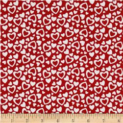 Riley Blake Holiday Banners Hearts Red Fabric