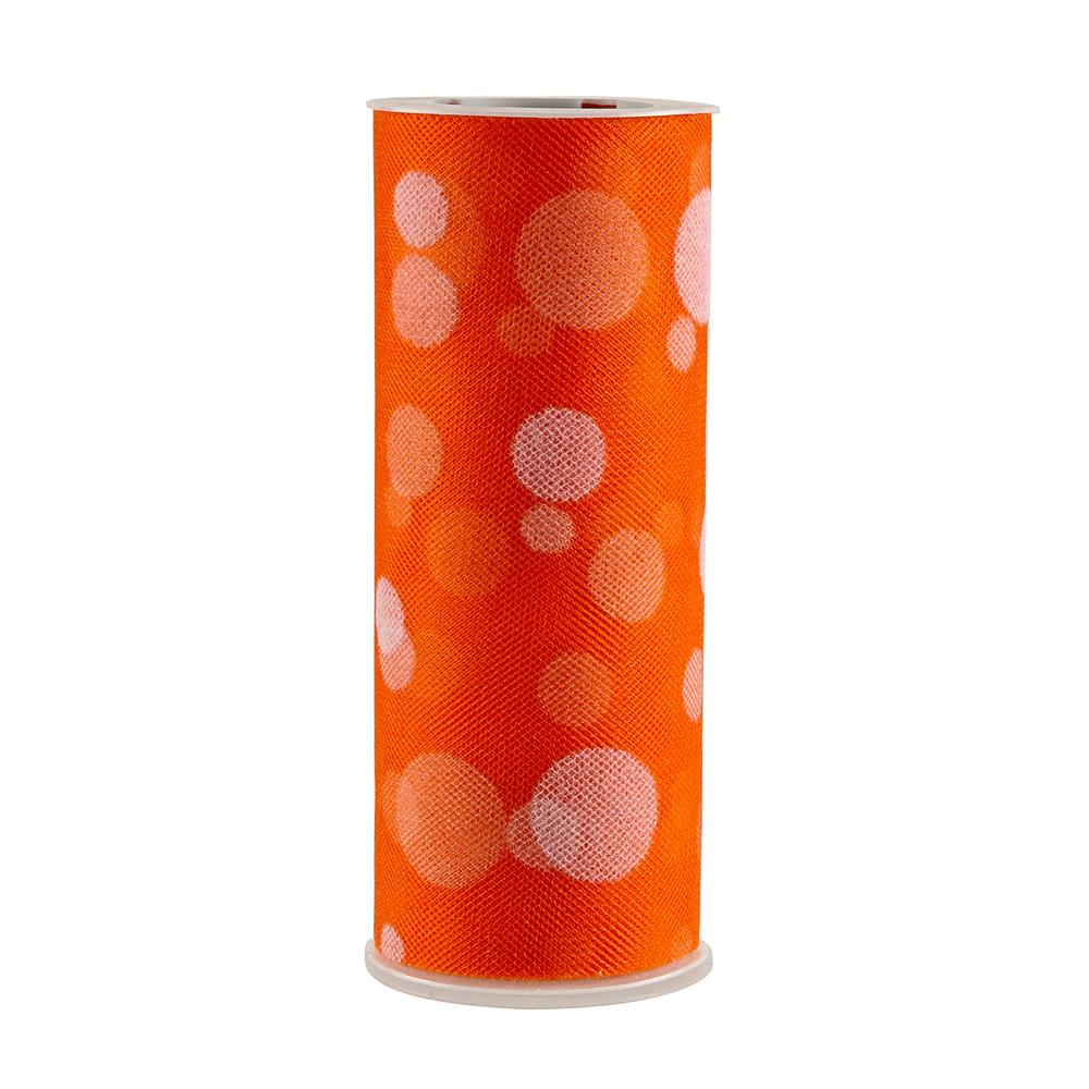 Tulle Spool Polka Dots Orange