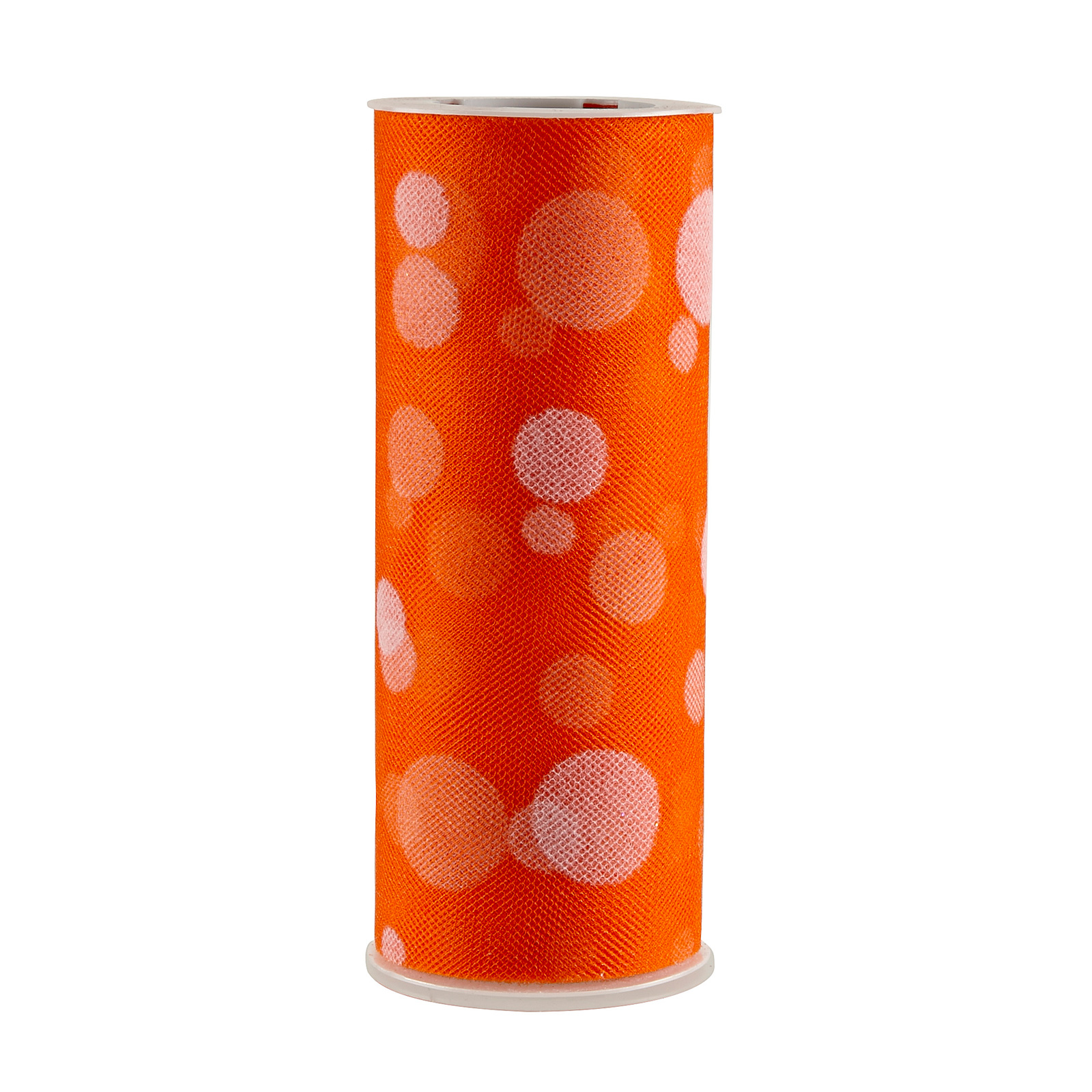 Tulle Spool Polka Dots Orange Fabric