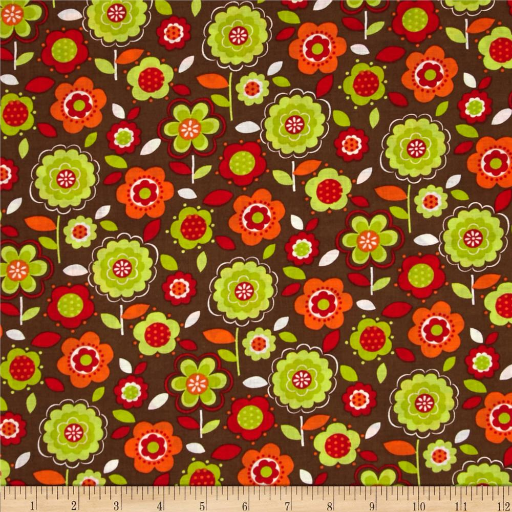 Calico Collection Floral Orange/Brown/Lime