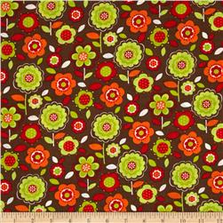 Calico Collection Floral Orange/Brown/Lime Fabric