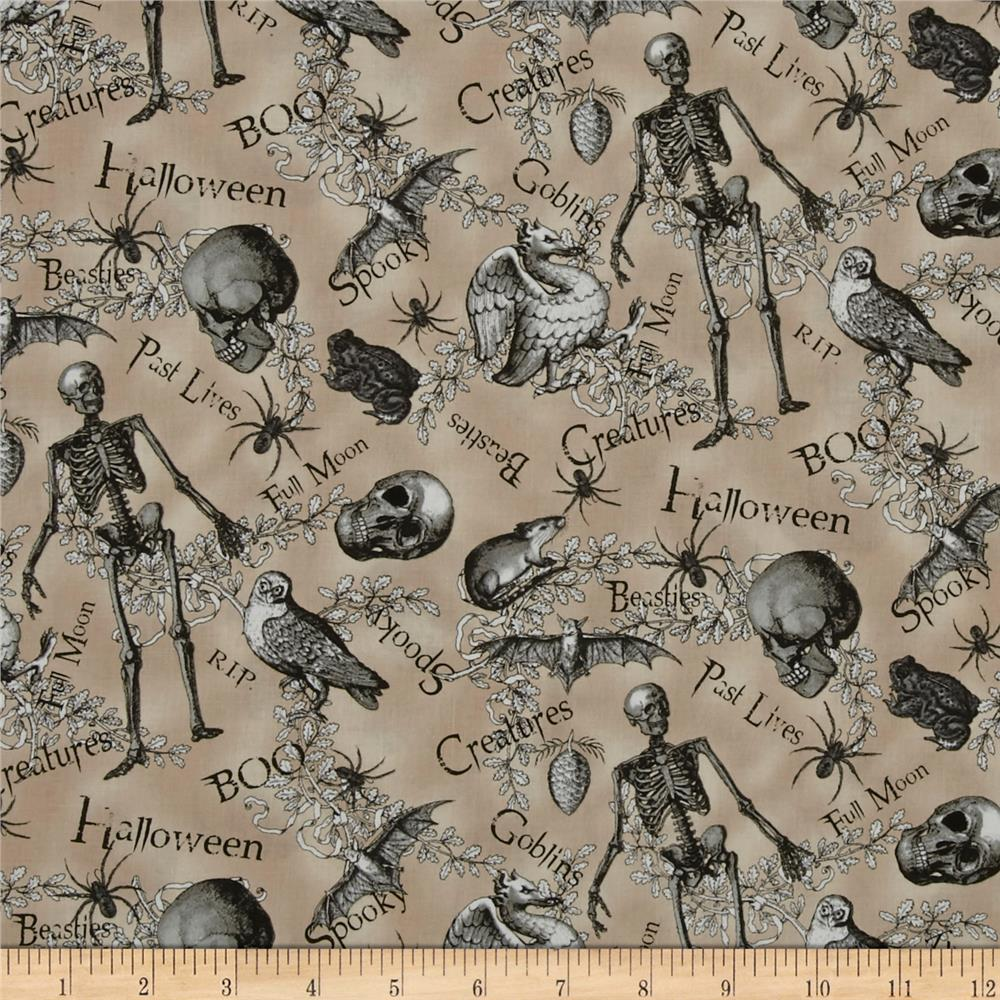 All Hallow's Eve Halloween Motifs Words Ecru Fabric By The Yard