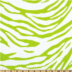 Cotton Rib Knit Zebra Stripes White/Lime