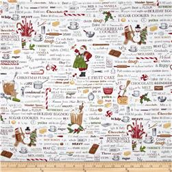 Holly Jolly Christmas Words Antique White Fabric