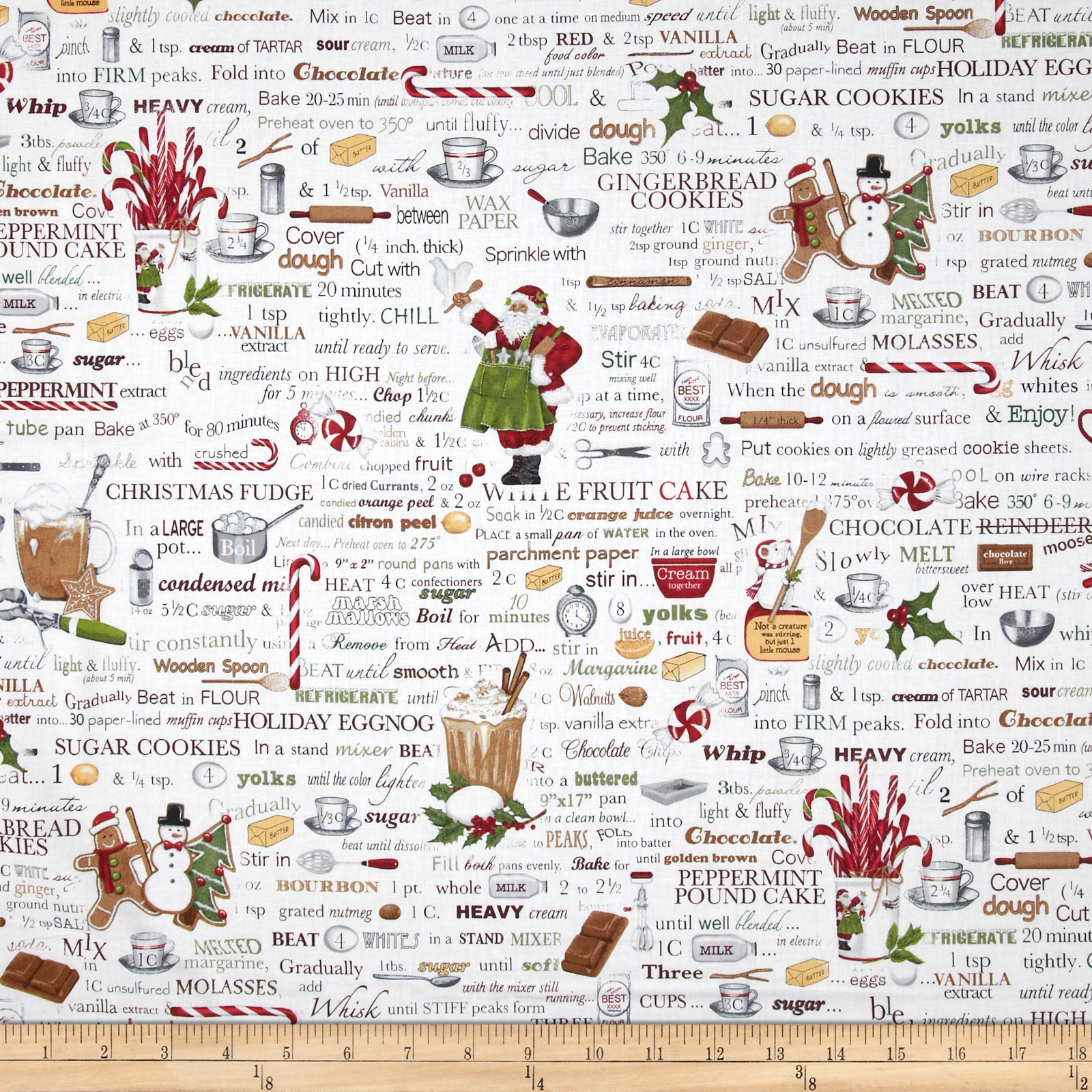 Holly Jolly Christmas Words Antique White Fabric By The Yard