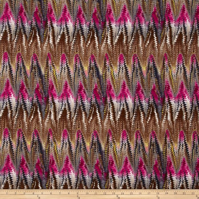 Jersey Knit Abstract Chevron Scale Pink
