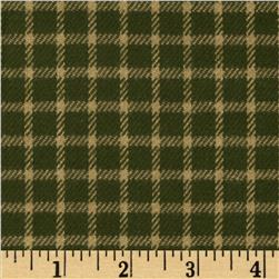 Primo Plaids Flannel Christmas II Small Check Green/Cream