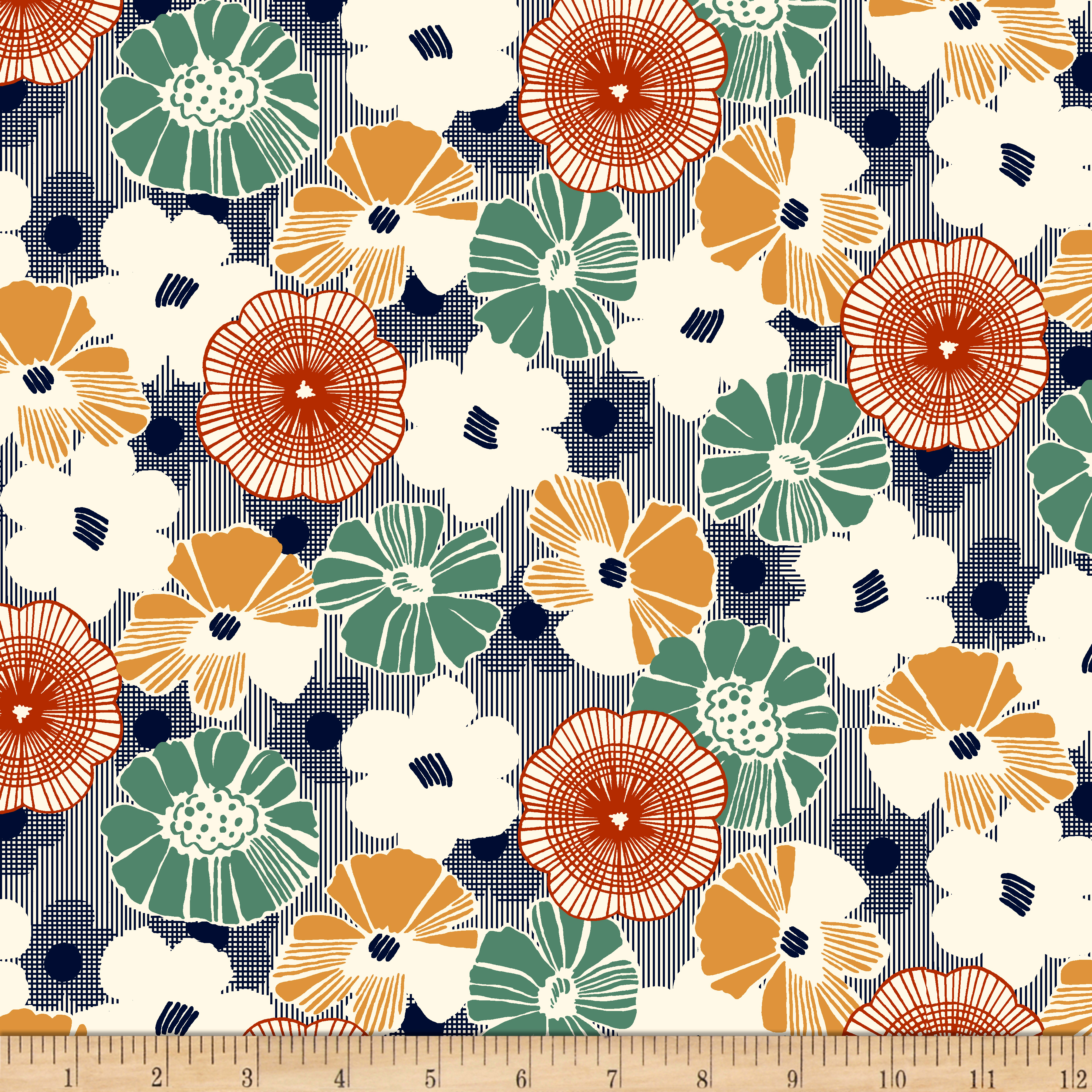 1930s House Dresses QT Fabrics Gretta 1930s Floral Navy $9.48 AT vintagedancer.com