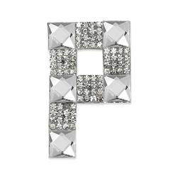 Rhinestone Applique Letter P Crystal