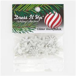 Dress It Up Embellishment Buttons  Glitter Snowflakes