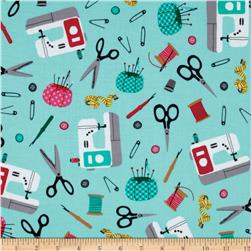 Sew Party Sewing Collage Aqua