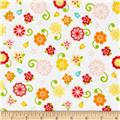 Riley Blake Flannel Simply Sweet Flower White