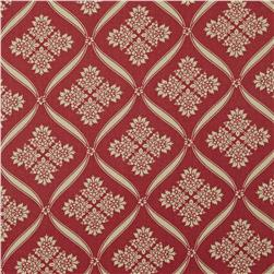 Moda Wintergreen Ribbon Damask Crimson