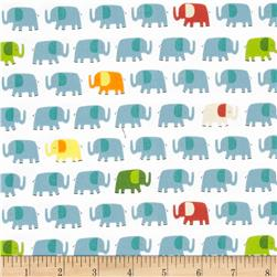 Timeless Treasures Peek-A-Zoo Elephants Blue