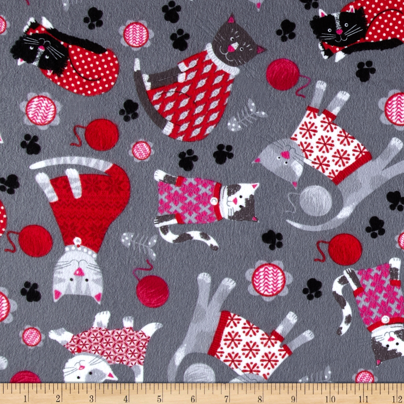 Kanvas Knitty Kitty Flannel Cozy Cats Grey Fabric