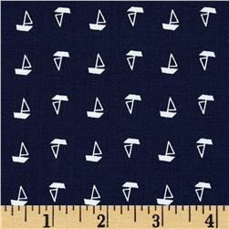 Morocco Blues Stretch Poplin Nautical Navy/White