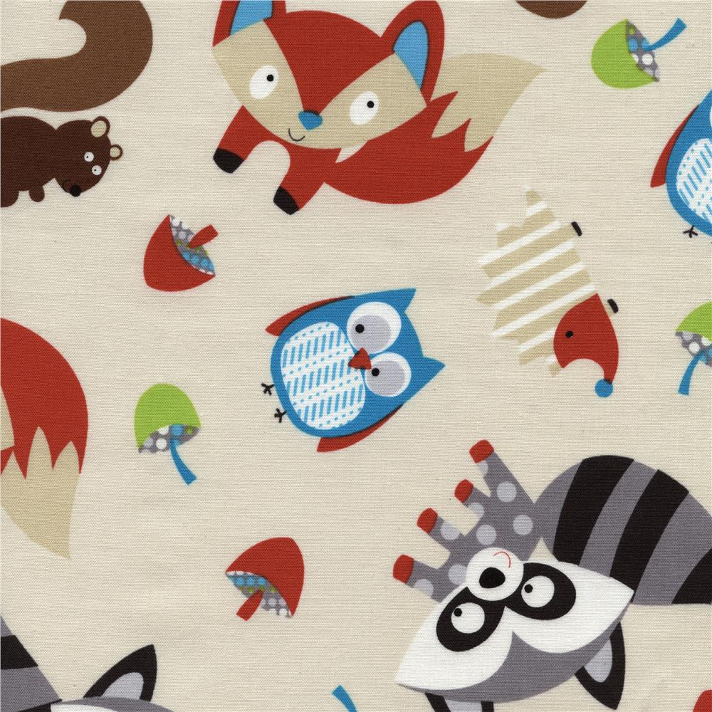 Timeless Treasures Woodlot Foxes Cream