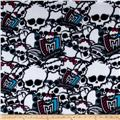 Monster High Skulls Fleece White/Black