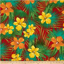 Kaufman Tahitian Nights Poplin Jungle Flowers Red Fabric
