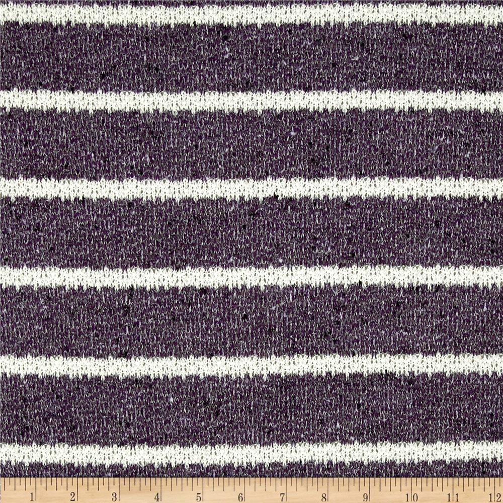 Stretch Boucle Sweater Knit Stripes Purple/White