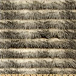Fun Shag Faux Fur Ribbon Stripes Cream/Brown