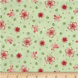 Ariel Tossed Flowers Light Green