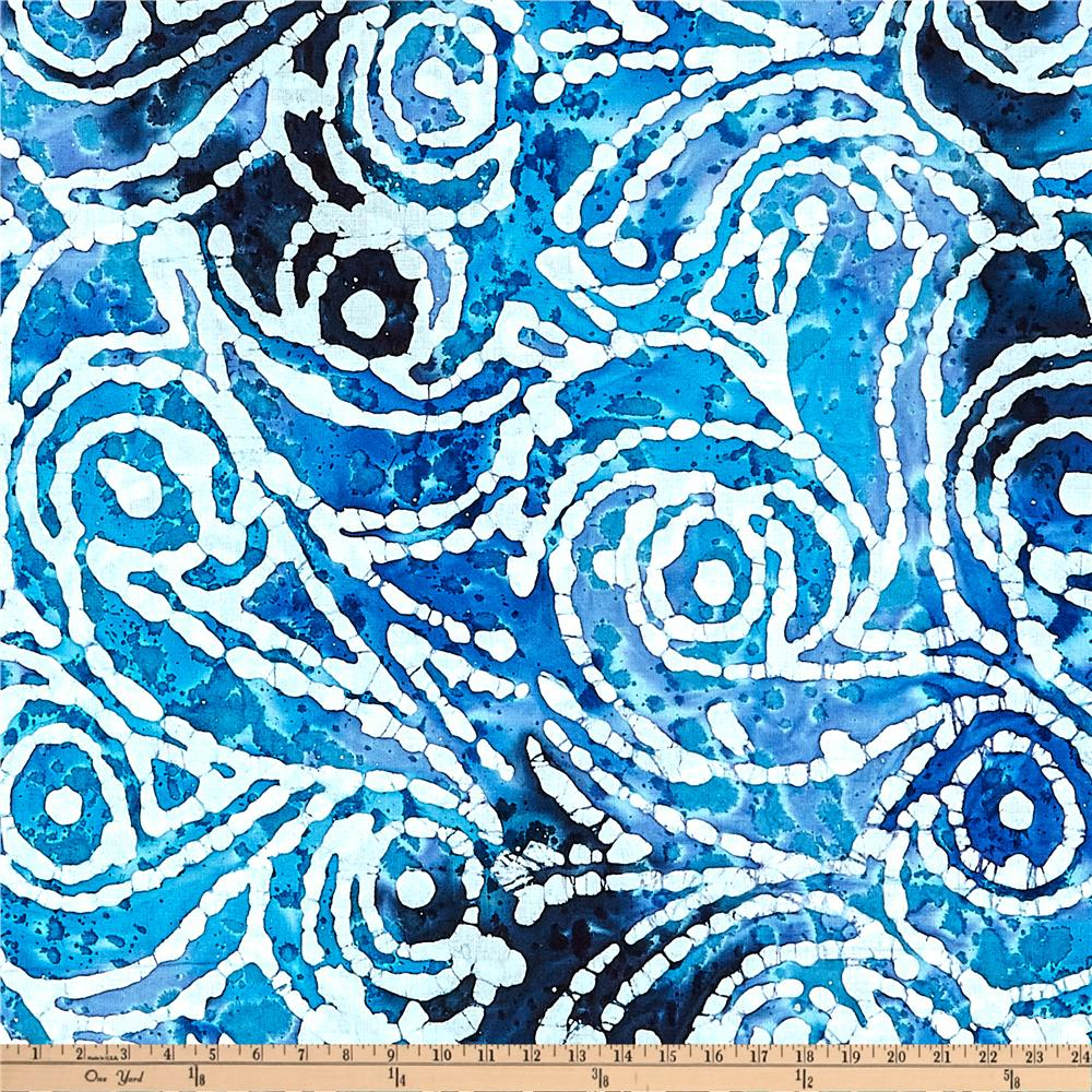 Indian Batik Cascades Scroll Blue