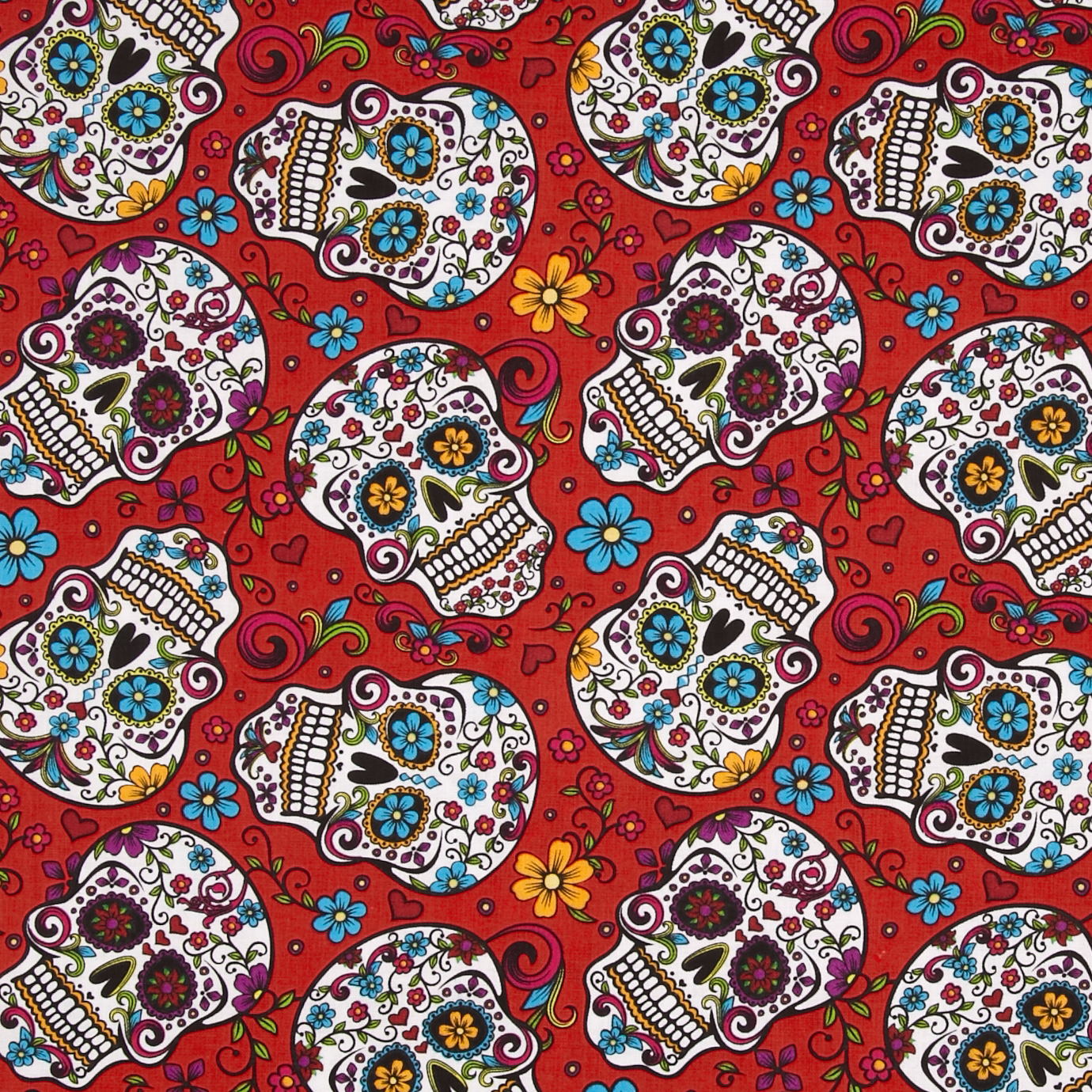 Folkloric Skulls Red Fabric